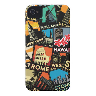 Travel posters retro vintage europe asia usa iPhone 4 Case-Mate case