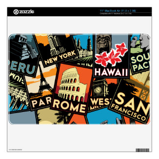 Travel posters retro vintage europe asia usa MacBook air skin
