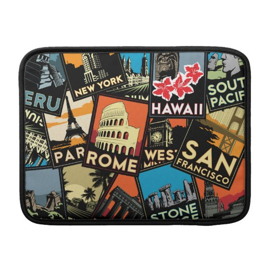 Travel posters retro vintage europe asia usa MacBook sleeve