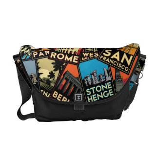 Travel posters retro vintage europe asia usa messenger bag