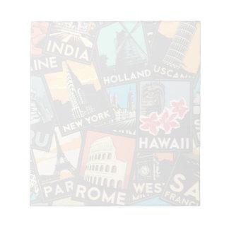 Travel posters retro vintage europe asia usa notepad