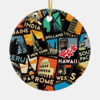 Travel posters retro vintage europe asia usa ornaments