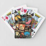 Travel posters retro vintage europe asia usa bicycle playing cards