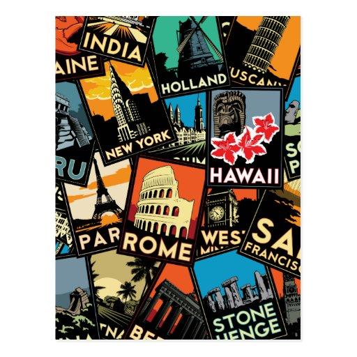Travel posters retro vintage europe asia usa postcard