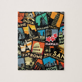 Travel posters retro vintage europe asia usa puzzle