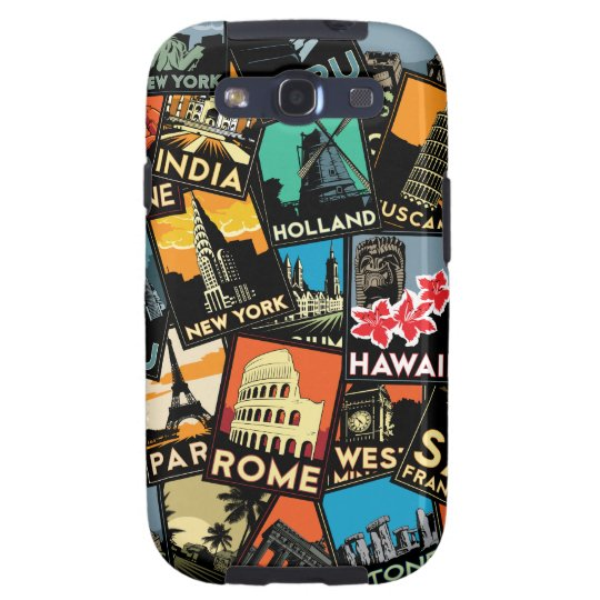 Travel posters retro vintage europe asia usa samsung galaxy s3 cover