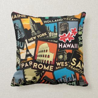 Travel posters retro vintage europe asia usa throw pillow