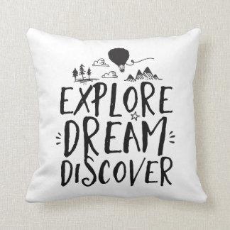 Travel Quote Explore Dream Discover Pillow