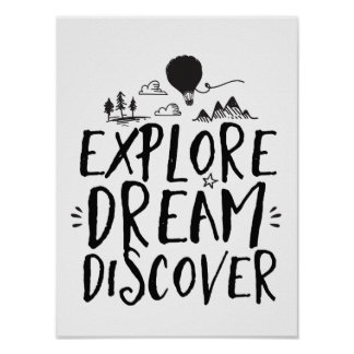 Travel Quote Explore Dream Discover Poster