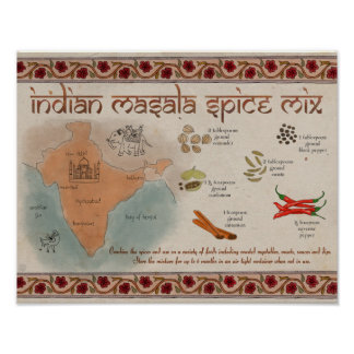 Travel Recipe Poster: Indian Masala Spice Mix Poster