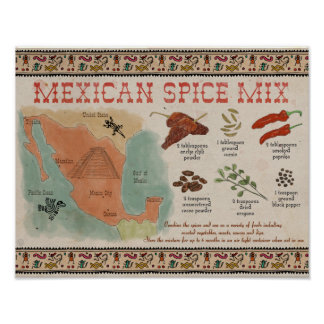 Travel Recipe Poster: Mexican Spice Mix Poster