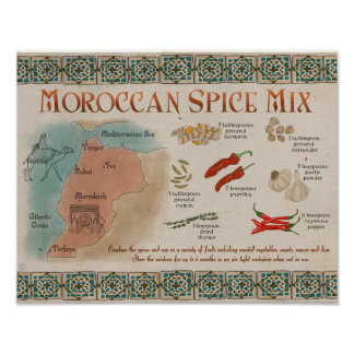 Travel Recipe Poster: Moroccan Spice Mix Poster