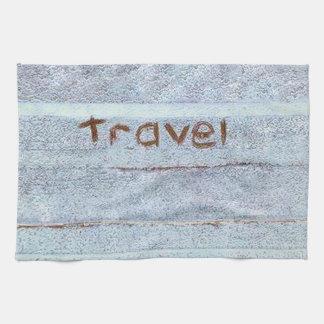 Travel rustic blue bohemian kitchen towel