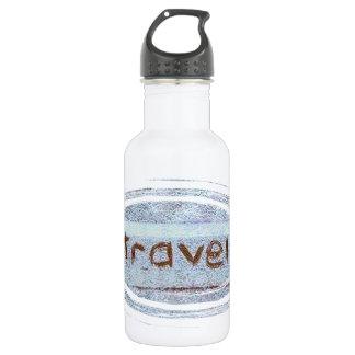 Travel rustic blue bohemian stainless steel water bottle