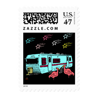 Travel Rv Trailer Flamingo STAMPS Shooting stars