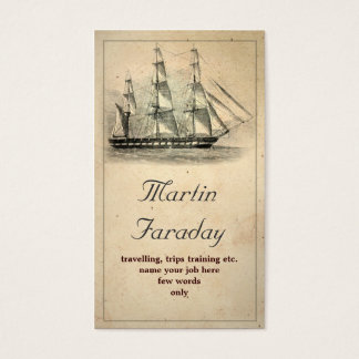 travel ship boat beautiful old business card