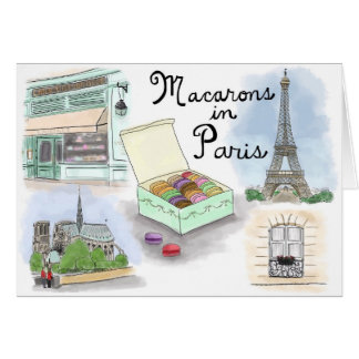 Travel Sketch Notecard: Macarons in Paris France Card