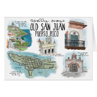 Travel Sketch Notecard: Strolling Old San Juan Card