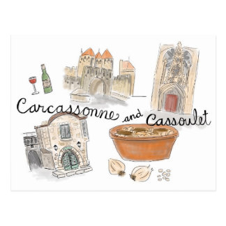 Travel Sketch Postcard: Cassoulet in Carcassonne Postcard