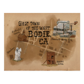 Travel Sketch Postcard: Ghost Town of Bodie CA Postcard