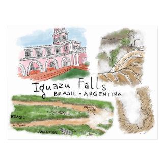 Travel Sketch Postcard: Iguazu Falls, Brasil Postcard