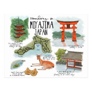 Travel Sketch Postcard: Meandering on Miyajima Postcard