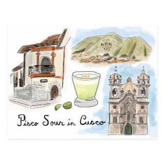 Travel Sketch Postcard: Pisco Sour in Cusco, Peru Postcard