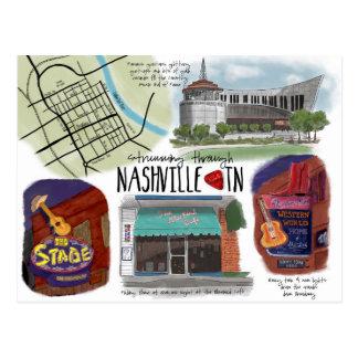 Travel Sketch Postcard Strumming through Nashville
