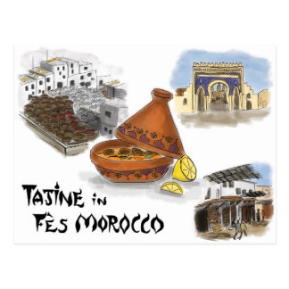 Travel Sketch Postcard: Tajine in Fes, Morocco Postcard