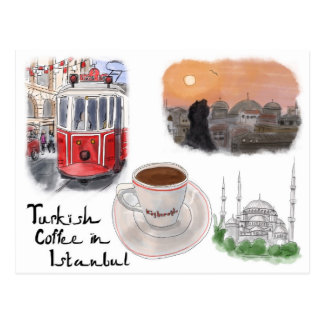 Travel Sketch Postcard: Turkish Coffee in Istanbul Postcard