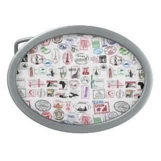 Travel Stamps Oval Belt Buckle