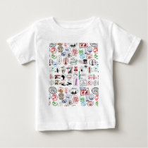 Travel Stamps Pattern Baby T-Shirt