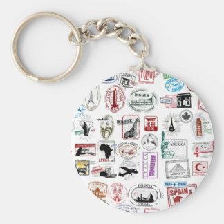 Travel Stamps Pattern Basic Round Button Keychain