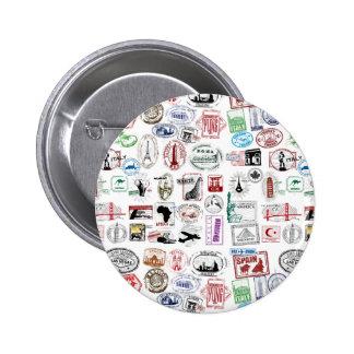 Travel Stamps Pattern 2 Inch Round Button