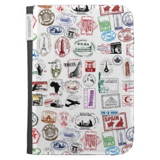 Travel Stamps Pattern Kindle Covers
