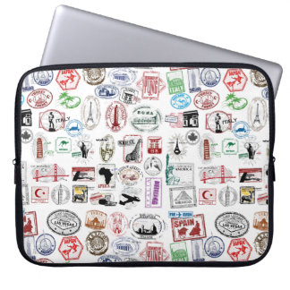 Travel Stamps Pattern Case Sleeve