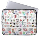 Travel Stamps Pattern Case Sleeve Laptop Computer Sleeve