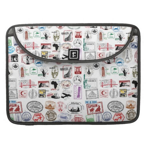Travel Stamps Pattern Case Sleeve MacBook Pro Sleeve