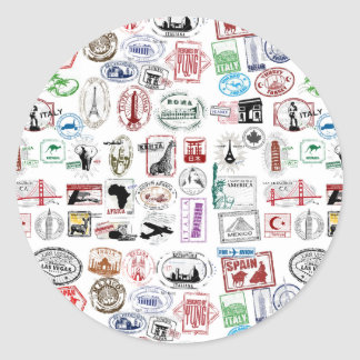 Travel Stamps Pattern Classic Round Sticker