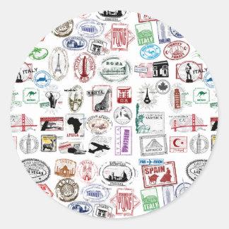Travel Stamps Pattern Classic Round Sticker