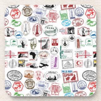 Travel Stamps Pattern Drink Coaster