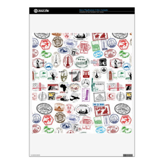 Travel Stamps Pattern Custom Skins Decals For The PS3 Slim
