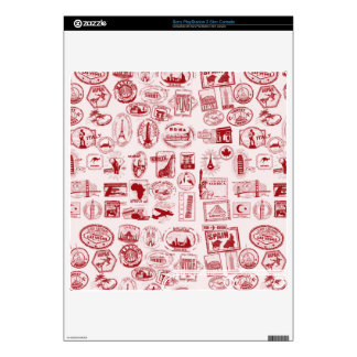 Travel Stamps Pattern Custom Skins Decal For The PS3 Slim