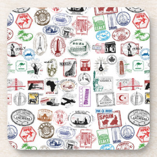 Travel Stamps Pattern Drink Coaster