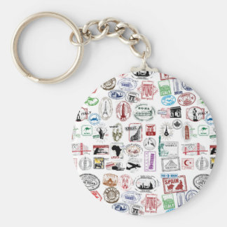 Travel Stamps Pattern Keychain