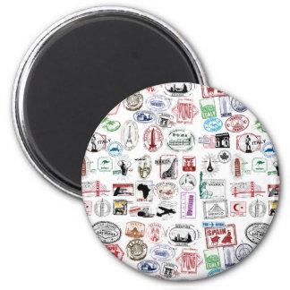 Travel Stamps Pattern Magnet