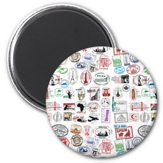 Travel Stamps Pattern Magnet
