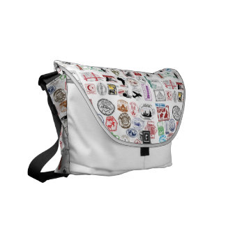 Travel Stamps Pattern Courier Bags