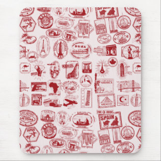 Travel Stamps Pattern Mouse Pad