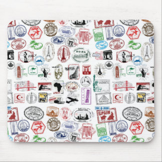 Travel Stamps Pattern Mousepad
